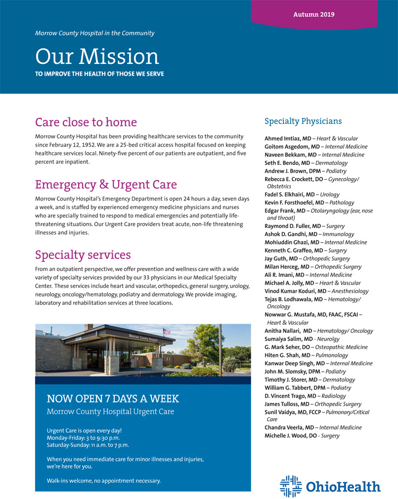 About OhioHealth in Morrow County